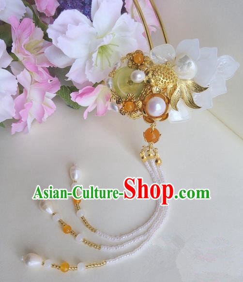 Traditional Handmade Chinese Ancient Princess Classical Accessories Jewellery Pure Copper Coloured Glaze Hair Sticks Pearl Hair Jewellery, Hair Fascinators Hairpins for Women