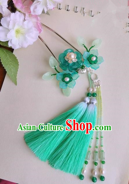 Traditional Handmade Chinese Ancient Princess Classical Accessories Jewellery Copper Pearl Coloured Glaze Hair Sticks Hair Jewellery, Green Tassel Hair Fascinators Hairpins for Women