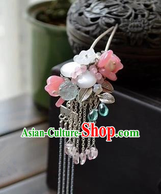 Traditional Handmade Chinese Ancient Princess Classical Hanfu Accessories Jewellery Pink Coloured Glaze Hair Sticks Hair Jewellery, Tassel Hair Fascinators Hairpins for Women