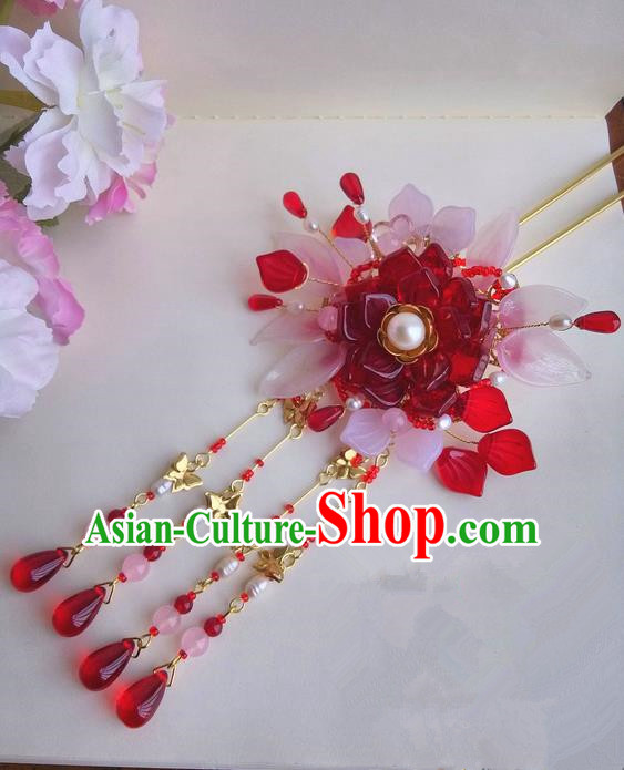 Traditional Handmade Chinese Ancient Princess Classical Accessories Jewellery Pure Copper Coloured Glaze Hair Sticks Hair Jewellery, Hair Fascinators Hairpins for Women