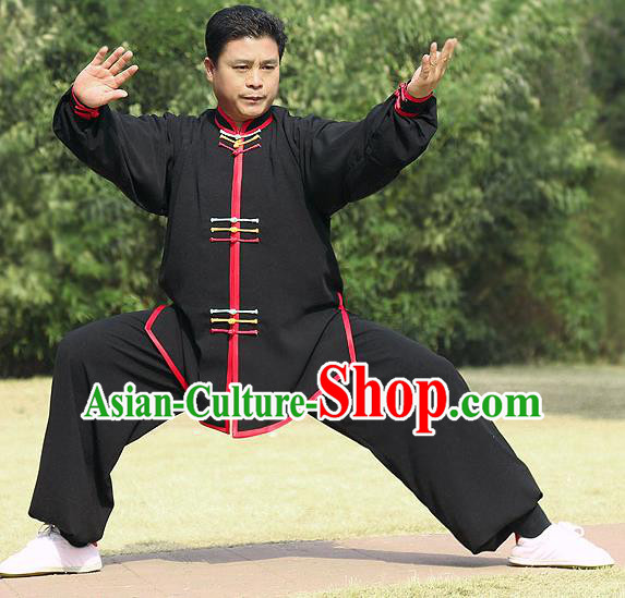 44e2775df Traditional Chinese Top Silk Cotton Kung Fu Costume Martial Arts Kung Fu  Training Colorful Plated Buttons Black Uniform, Tang Suit Gongfu Shaolin  Wushu ...