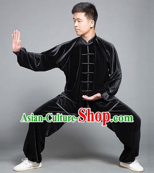 Chinese Kung Fu Black Costume Tang Suits Martial Arts Gongfu