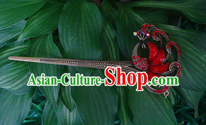 Traditional Chinese Miao Ethnic Minority Hair Jewelry Accessories, Hmong Handmade Peacock Hairpins, Miao Ethnic Jewelry Accessories Hair Claw for Women