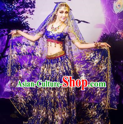 Traditional Ancient Indian Palace Sari Classic Dance Costumes, Indian Young Lady Belly Dance Dress for Women