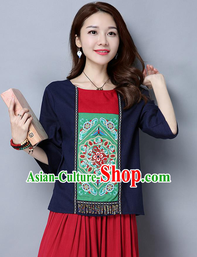 902c7f69d Traditional Chinese National Costume, Elegant Hanfu Embroidery Round Collar  Navy T-Shirt, China Miao National Minority Tang Suit Blouse Cheongsam Upper  ...