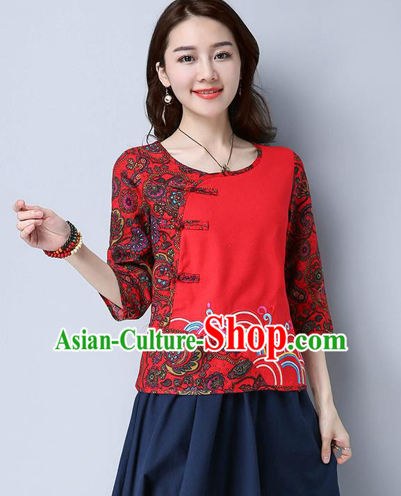 8b483151d Traditional Chinese National Costume, Elegant Hanfu Embroidery Flowers  Linen Red T-Shirt, China