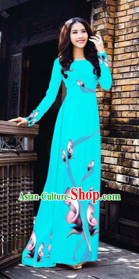 Traditional Top Grade Asian Vietnamese Costumes Classical Printing Flowers Pattern Full Dress, Vietnam National Ao Dai Dress Blue Etiquette Qipao for Women