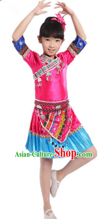 Traditional Chinese Zhuang Nationality Dancing Costume, Zhuang Zu Children Folk Dance Ethnic Pleated Skirt, Chinese Minority Nationality Embroidery Pink Dress for Kids