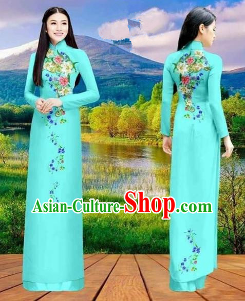 Traditional Top Grade Asian Vietnamese Costumes Classical Double-sided Printing Cheongsam, Vietnam National Vietnamese Princess Bride Blue Ao Dai Dress Dance Clothing