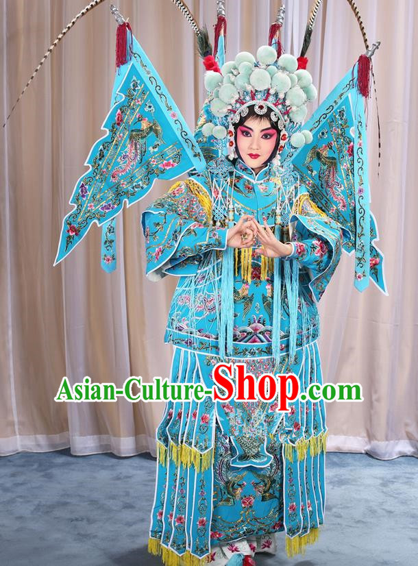 b15cee644 Traditional Chinese Beijing Opera Magic Warriors Blue Clothing and Shoes  Complete Set, China Peking Opera Blues Costume Embroidered Robe Opera  Costumes