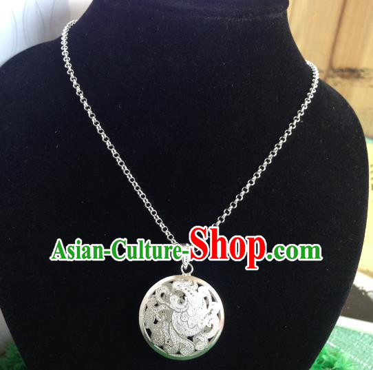 Traditional Handmade Chinese Ancient Classical Accessories Miao Nationality Pendant Sliver Sweater Chain Pendent for Women