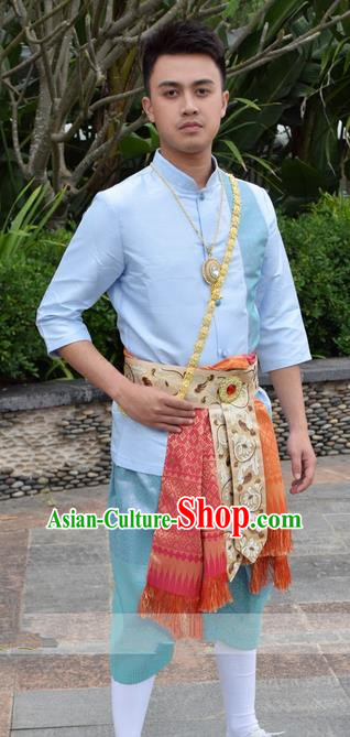 03bc9f52b Traditional Traditional Thailand Male Clothing, Southeast Asia Thai Ancient  Costumes Dai Nationality Blue Shirt and