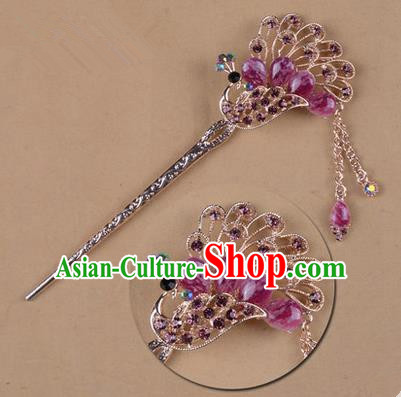 Top Grade Chinese Ancient Peking Opera Hair Accessories Diva Purple Crystal Peacock Hairpins Step Shake, Traditional Chinese Beijing Opera Hua Tan Hair Clasp Head-ornaments