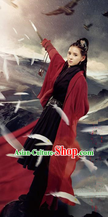 Traditional Chinese Song Dynasty Female Hero Costume, Chinese Ancient Hanfu Jiang Hu Swordsman Clothing for Women