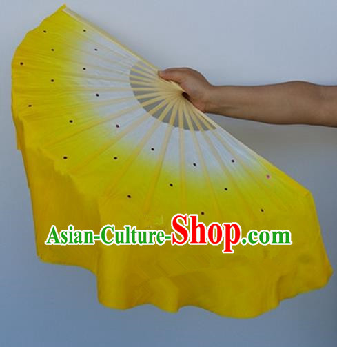 Yellow Pure Silk Traditional Chinese Fans Oriental Colorful Fan Folk Dance Dance Cultural Hand Fan