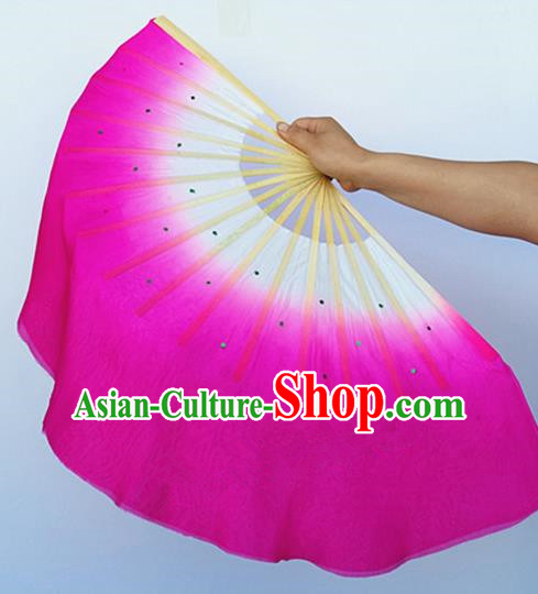 Pure Silk Traditional Chinese Fans Oriental Rosy Ribbon Fan Folk Dance Cultural Yanko Dance Hand Fan