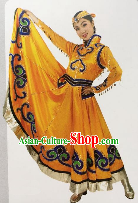 Traditional Chinese Mongol Nationality Dance Costume Yellow Mongolian Robe, China Mongolian Minority Nationality Clothing for Women