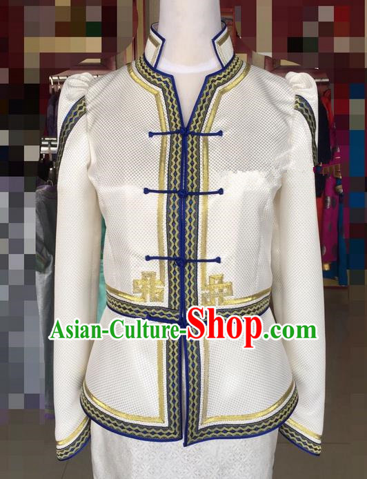 Traditional Chinese Mongol Nationality Dance Costume Handmade Mongolian Blouse, China Mongolian Minority Nationality Clothing for Women