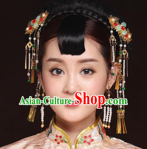 27ccbb45e Traditional Handmade Chinese Ancient Classical Hair Accessories Bride  Wedding Barrettes Tassel Phoenix Coronet, Xiuhe Suit