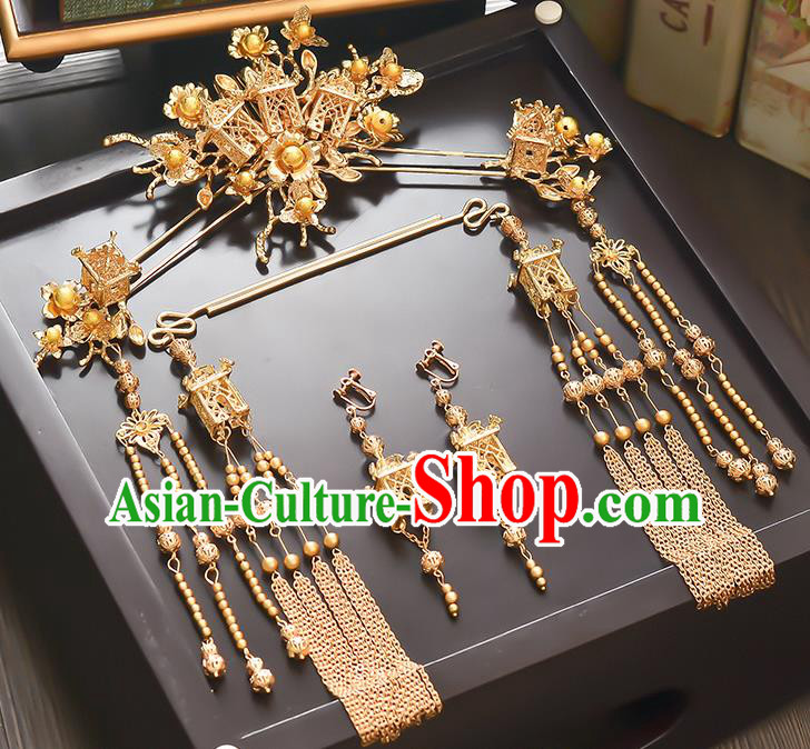 Traditional Handmade Chinese Ancient Classical Hair Accessories Xiuhe Suit Golden Tassel Hairpin Step Shake Phoenix Coronet Complete Set, Hair Sticks Hair Jewellery Hair Fascinators for Women