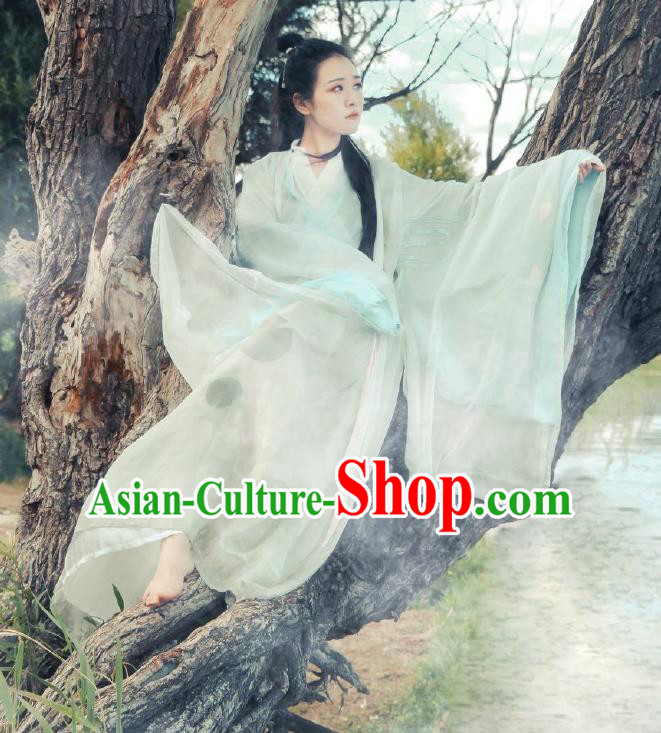 Traditional Chinese Jin Dynasty Swordswoman Costume, Elegant Hanfu Clothing Chinese Ancient Chivalrous Women Dress Clothing