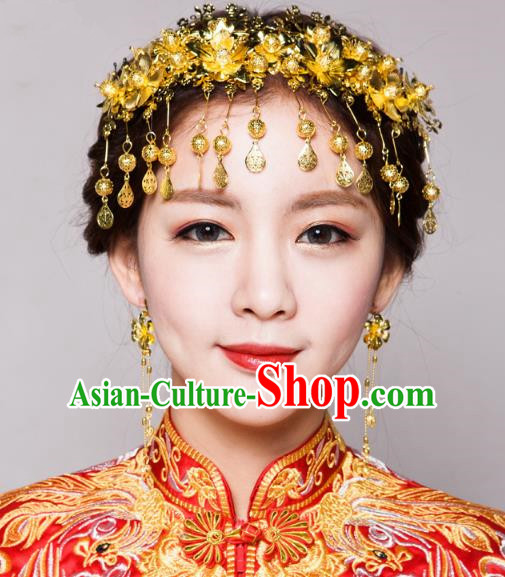 fe3a6086b Traditional Handmade Chinese Ancient Classical Hair Accessories Bride  Wedding Tassel Golden Phoenix Coronet, Xiuhe Suit Hair Jewellery Hair  Fascinators ...
