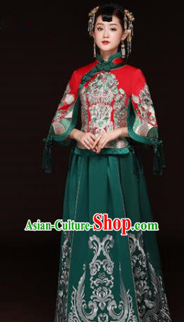 f183761ef Traditional Ancient Chinese Wedding Costume Handmade Delicacy Embroidery  Phoenix XiuHe Suits Green Dress, Chinese Style
