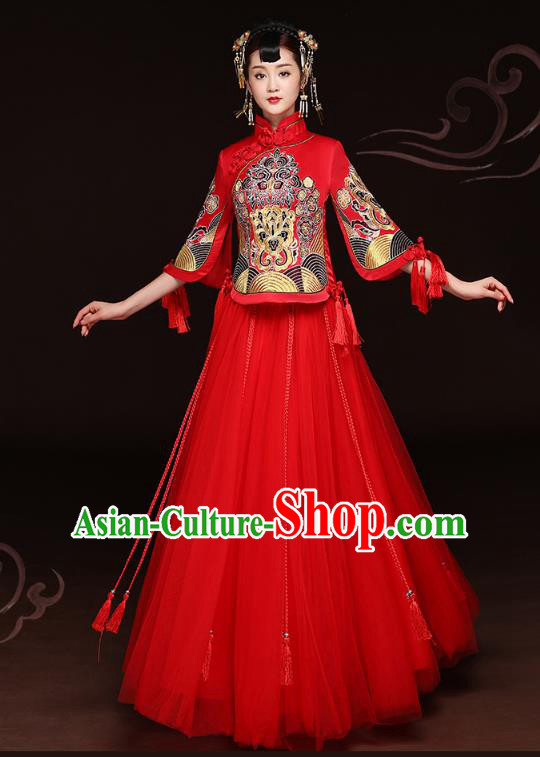 2f72ec28a Traditional Ancient Chinese Wedding Costume Handmade Delicacy Embroidery  Phoenix Peony Red Veil XiuHe Suits, Chinese Style Hanfu Wedding Bride Toast  ...