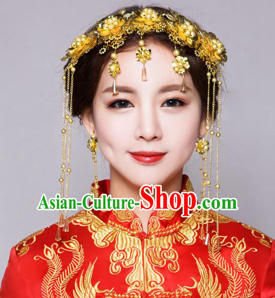 3e8046f70 Traditional Handmade Chinese Ancient Classical Hair Accessories Bride  Wedding Golden Flowers Hair Clasp Phoenix Coronet,