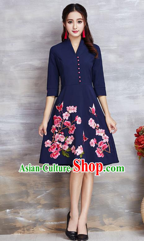 578a7ee3eb Top Grade Asian Chinese Costumes Classical Embroidery Flowers Navy Dress