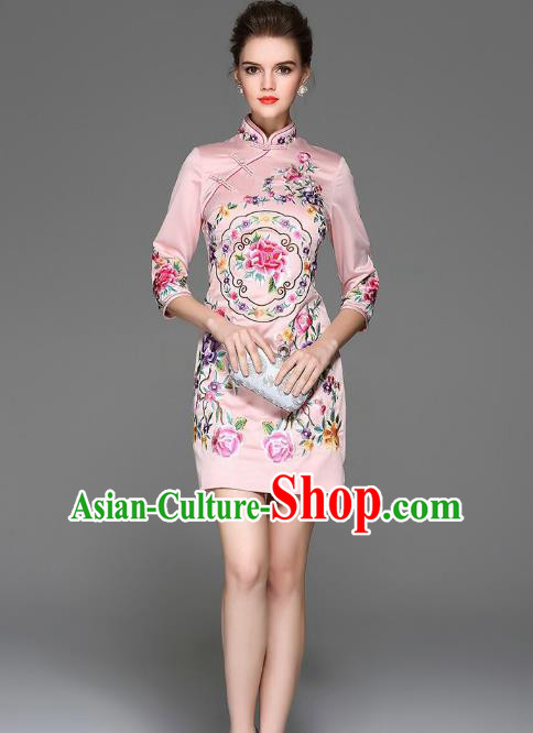 ad9461060b Top Grade Asian Chinese Costumes Classical Embroidery Peony Silk Pink  Cheongsam