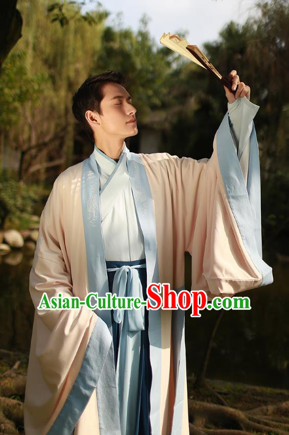 Ancient Chinese Scholar Hanfu Costume, Traditional China Jin Dynasty Embroidery Clothing Beige Long Cloak for Men