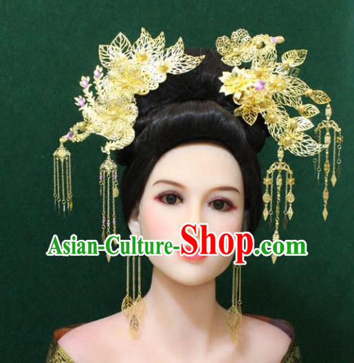 Traditional Handmade Chinese Hair Accessories Hanfu Phoenix Step Shake, Royal Princess Tassel Hairpins Complete Set for Women