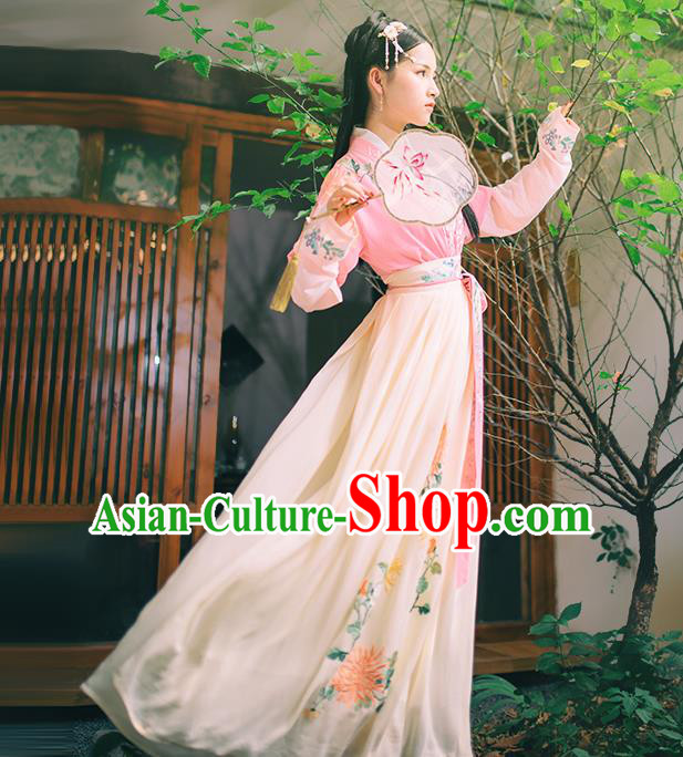 759ee292c Asian China Han Dynasty Hanfu Costume Traditional Chinese Princess  Embroidery Pink Dress Clothing Complete Set