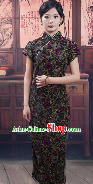 Traditional Ancient Chinese Republic of China Cheongsam Costume, Asian Chinese Black Printing Chirpaur Clothing for Women