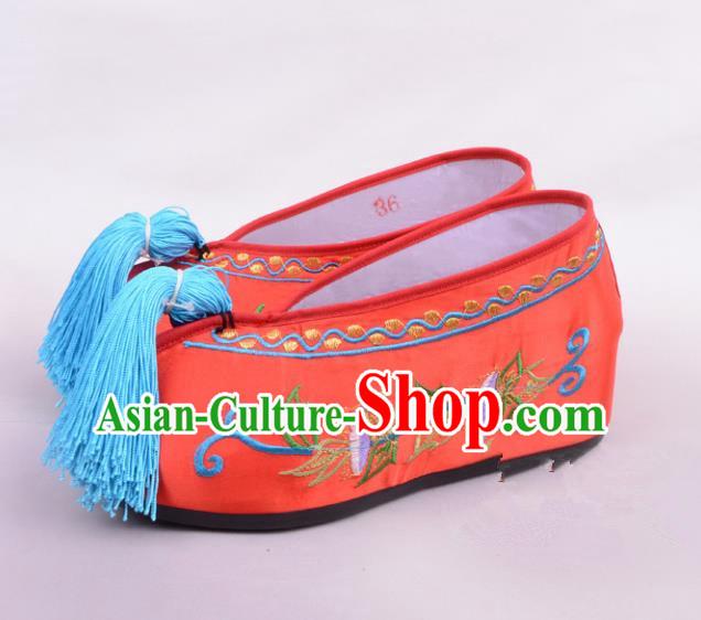 Beijing Opera Red Silk Shoes