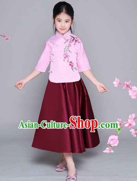 Traditional Chinese Republic of China Children Clothing, China National Embroidered Blouse and Skirt for Kids
