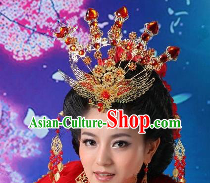 5b745ebca29 Traditional Handmade Chinese Classical Hair Accessories Tang Dynasty  Imperial Empress Phoenix Coronet Hairpins for Women