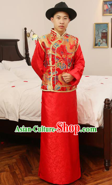 88f0180a6a65d Ancient Chinese Qing Dynasty Wedding Costume China Traditional Bridegroom  Embroidered Toast Clothing for Men