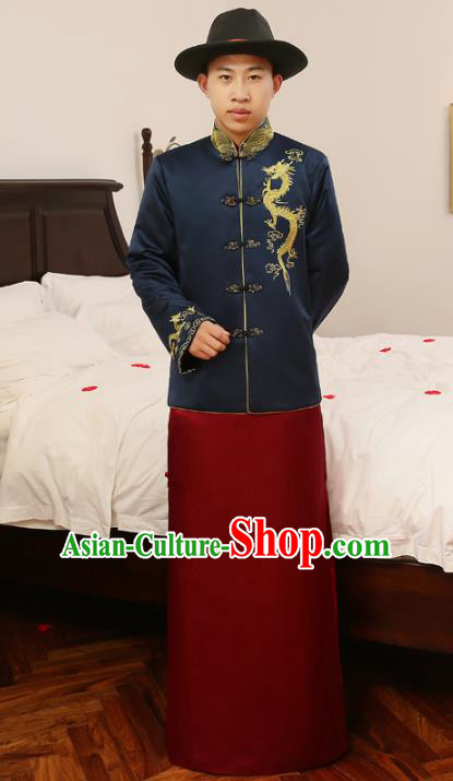 0261b857f29c5 Ancient Chinese Qing Dynasty Wedding Costume China Traditional Bridegroom  Embroidered Blue Toast Clothing for Men