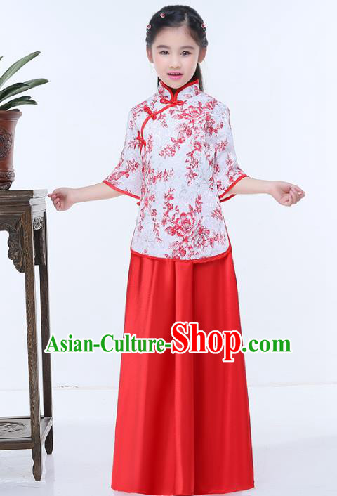 Traditional Chinese Republic of China Children Clothing, China National Embroidered Red Blouse and Skirt for Kids