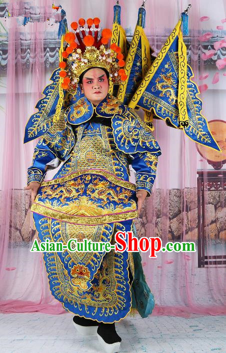 628cd4f4d Chinese Beijing Opera General Costume Blue Embroidered Armour, China Peking  Opera Military Officer Embroidery Gwanbok Clothing