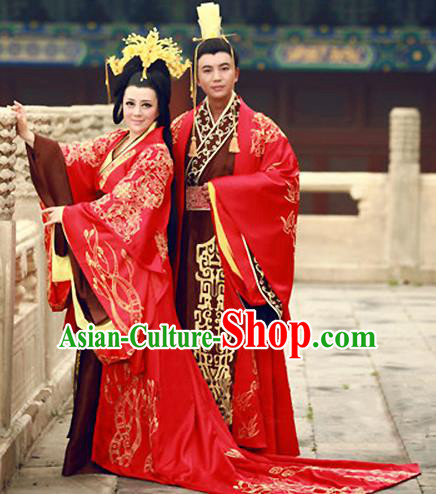 579677344 Traditional Chinese Ancient Han Dynasty Imperial Emperor and Empress  Embroidered Wedding Clothing Complete Set