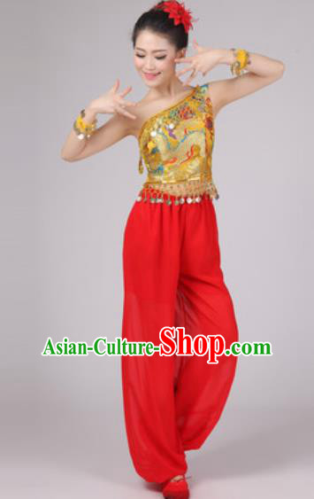 Chinese Classical Dance Drum Dance Costume Traditional Folk Dance Yangko Golden Clothing for Women