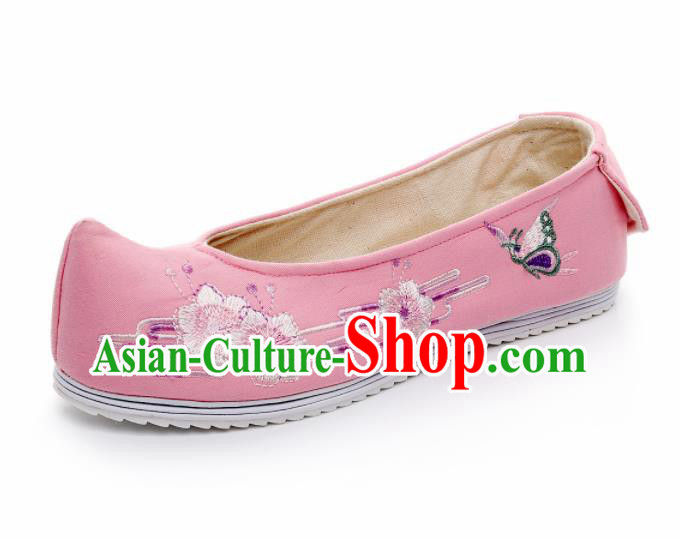 Chinese Traditional Hanfu White Satin Shoes Embroidered