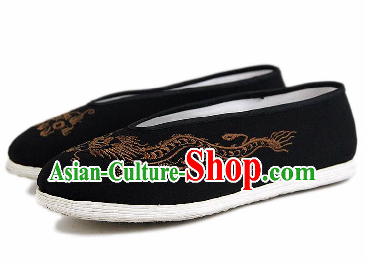 Chinese National Black Cloth Shoes Traditional Martial Arts Shoes Embroidery Golden Dragon Shoes for Men