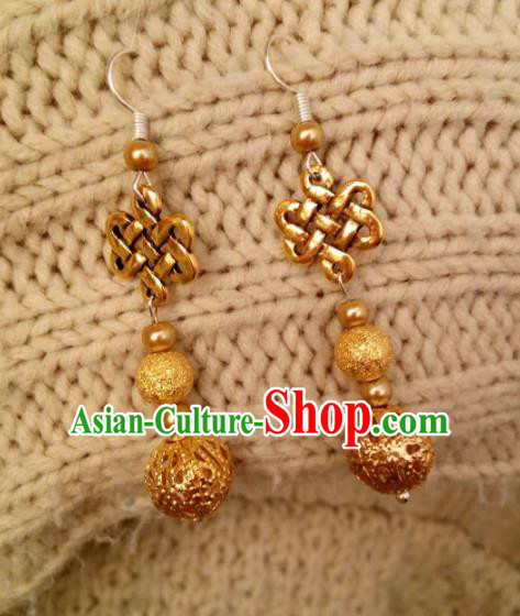 Chinese Traditional Ethnic Eardrop Jewelry Accessories Mongolian Golden Earrings For Women