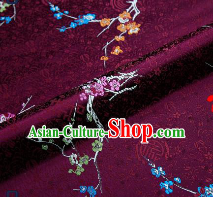 Asian Chinese Purple Brocade Fabric Traditional Plum Blossom Pattern Design Satin Tang Suit Silk Fabric Material