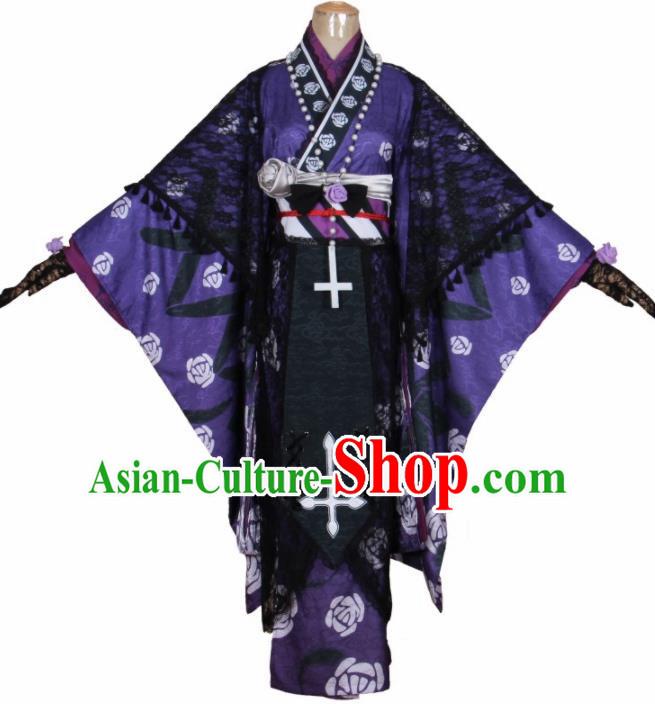 Japanese Traditional Women Floral Furisode Long Kimono Cosplay Costume Halloween