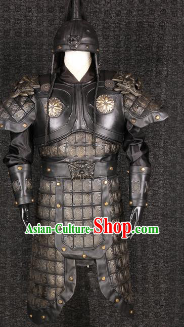 ece9969b1 Chinese Traditional Qin Dynasty Soldier Costumes Ancient General Helmet and  Armour for Men